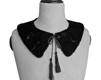 FUR COLLAR with Tassel and Beads, embroidered, white, black, Art Deco, handmade