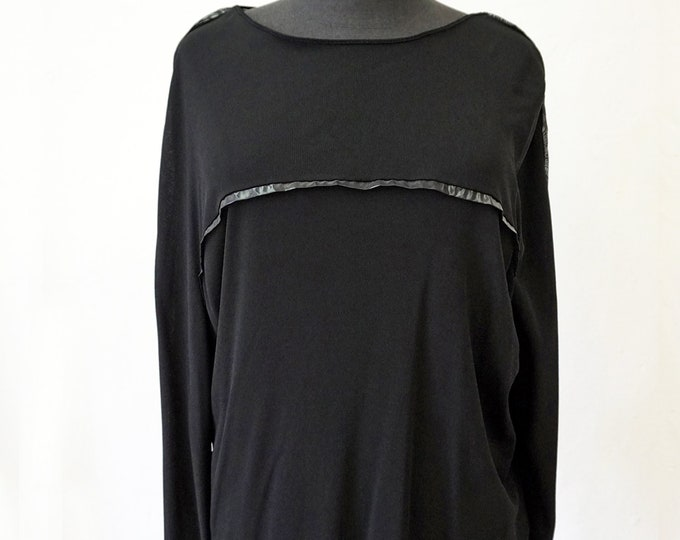 KIMONO T-SHIRT, jersey, Cimono, long sleeves, black