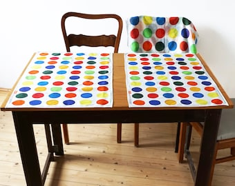 Table Runner, Place Mat with hand painted Dots, point, organic cotton