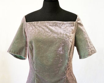 VELVET TOP Art Deco, off-shoulder, silver-green iridescent, shimmering, cotton
