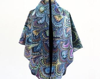 ART DECO SCARF cotton and silk, Art-Nouveau marbling