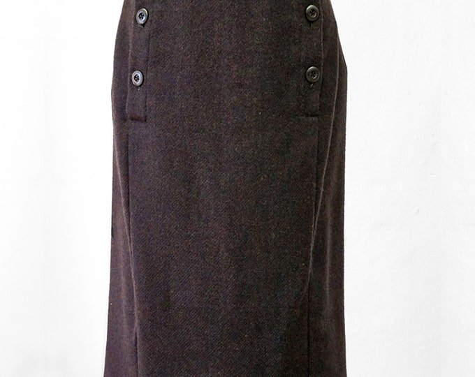 2-row WOOL SKIRT in brown for winter