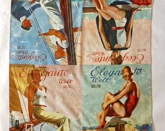 "ART DECO SCARF German Magazine ""Elegante Welt"" Cotton, Silk, Art Nouveau, digital print, 1930s"