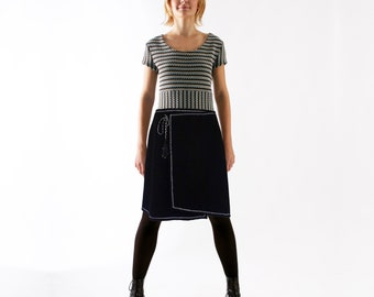 WRAP SKIRT for winter wool angora black blue