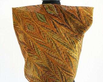 ART DECO SCARF Silk, Cotton, Art Nouveau, brown, green, digital print