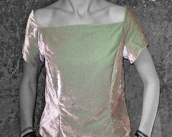 SALE! VELVET TOP Art Deco, off shoulder, silver, green, cotton, shimmering