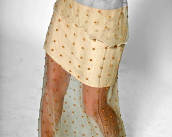 SALE! SKIRT embroidered, layered skirt, Lace, broderie, beige, sand, linen, beads, wedding