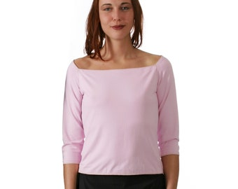 T-SHIRT with big Neckline in many colors, 3/4 sleeves, Off Shoulder