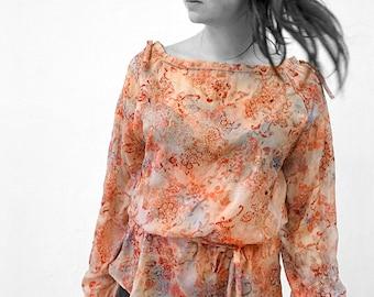 Silk Velvet burnout BLOUSE with Belt, of- the- shoulder, transparent, lace, embroidery, translucent top