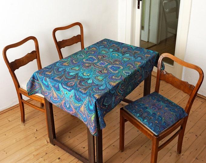 ART DECO TABLECLOTH Organic Cotton, table runner, Beach Towel, Art-Nouveau 1920 - 1940 marbling