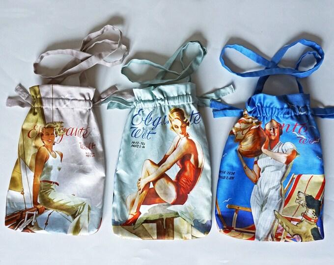 """ART DECO BAG printed Pouch, German Magazine """"Elegante Welt"""", Art Nouveau, Organic Cotton, digital print, 1930s"""