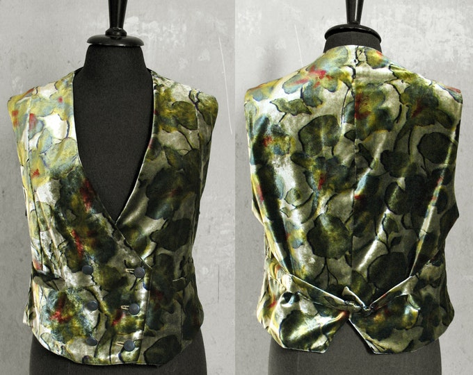 SALE! VEST VELVET, 2-row, double breasted, gold, silver, iridescent, pattern, flower