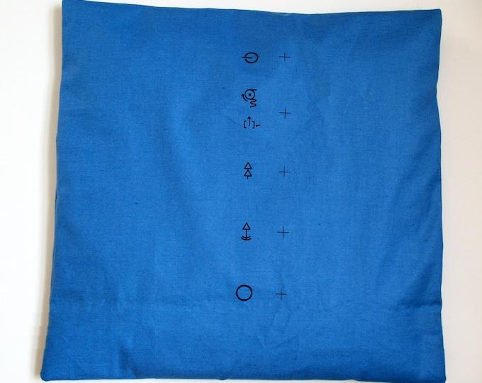 PILLOWCASE MALIMO blue, Cushion Cover, Vintage, GDR Print, Karl Marx City