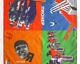 SCARF PIONEER Cotton, Silk, Communism, Revolution, digital print, Soviet Union, workers posters, propaganda, 1920s to 1940s