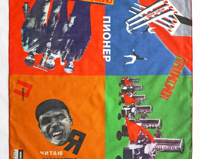 printed SCARF Soviet Union posters from 1920, Cotton and Silk, digital print