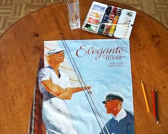 ART-DÉCO Tea Towel Table Runner, Placemat, Organic Cotton, Art Nouveau 1930s