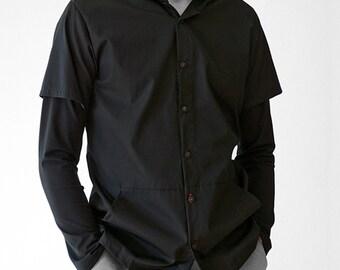 HOODY SHIRT with Kangaroo pocket, white, black, red, hood, Sportswear, Classic, casual, custom, Jersey, Cotton, layering Shirt