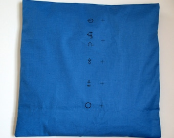 PILLOWCASE MALIMO blue, Cushion Cover, Vintage, GDR Print, Karl Marx City
