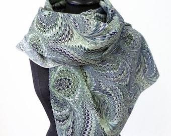 ART-DÉCO SCARF Silk Cotton Marbling, Art Nouveau, 1920 1930 1940 green blue