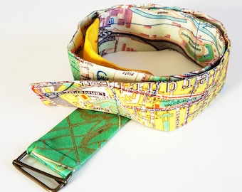 BERLIN FABRIC BELT organic cotton, G.D.R., Berlin Plan, Map 1960 years