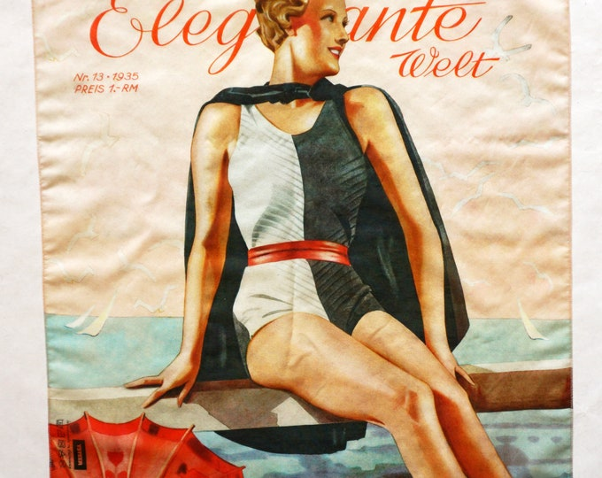 "ART DECO BANDANA ""Woman in a Bathing Suit"" Scarf, cotton and silk, Art Nouveau, digital print, 1930s"