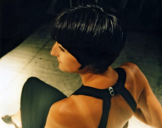 DRESS WITH TRAIN   big back neck, black, white, Jersey, long