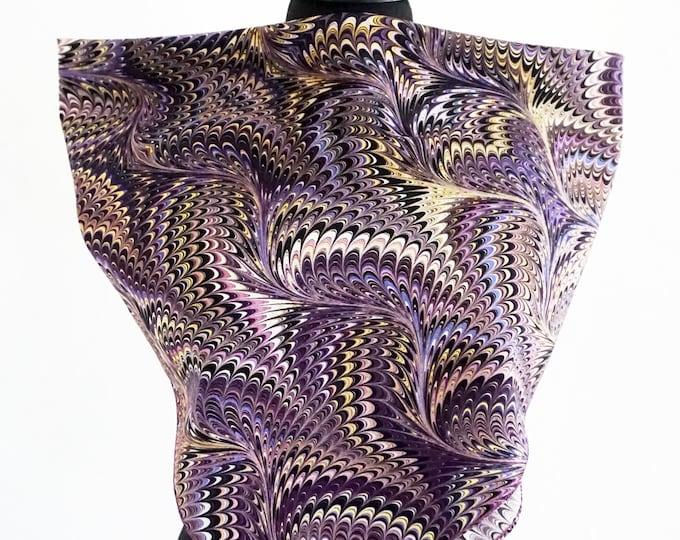 ART DECO SCARF cotton, silk, Art Nouveau, 1920s - 1940s, marbling, lila, violet, digital print