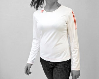 PIONEER T-SHIRT No. 6, Round Neck, light gray, jersey, cotton, long sleeves, GDR Pioneer, red Stripes