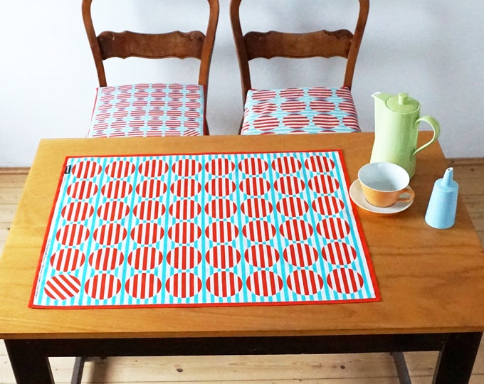 STRIPED DOT Tea Towel Table Runner Place Mat, point, stripe, russian constructivism, organic cotton, digital print