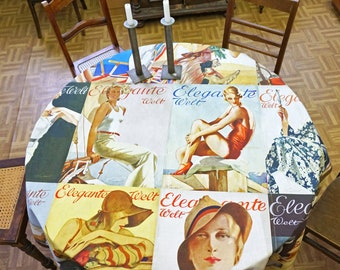 ART DECO TABLECLOTH Organic Cotton, table runner, Beach Towel, Art Nouveau