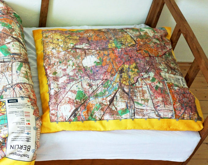 BERLIN Map Pillow Case, Organic Cotton, digital print, G.D.R., 1960s
