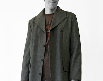 SALE! MAN JACKET with Square Collar, gray, Wool, G.D.R. Fabric, hidden buttons, formal wear