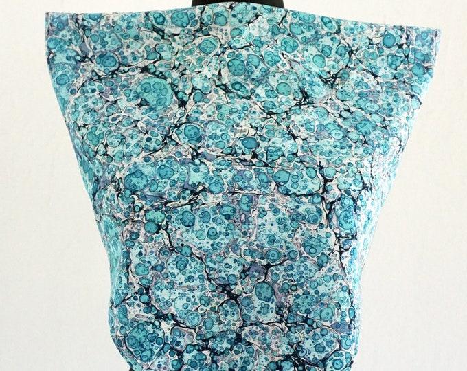 ART DECO SCARF Silk, Cotton, Art Nouveau, turquoise, digital print, marbling