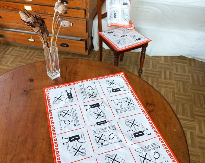 TABLE RUNNER DADAISM tea towel, Place Mat, Dish Cloth, Bauhaus, Surrealism, Drawings, Art, Organic Cotton, digital print