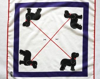 "Scarf ""Black Dog"" cotton and silk"