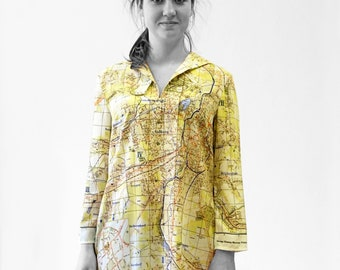 KARL-MARX-STADT Blouse with 3/4 Sleeves, sailor collar, city map 1960s