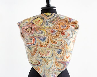 ART DECO SCARF Silk, Cotton, Art Nouveau, digital print, 1920s, 1930s, 1940s, orange, yellow