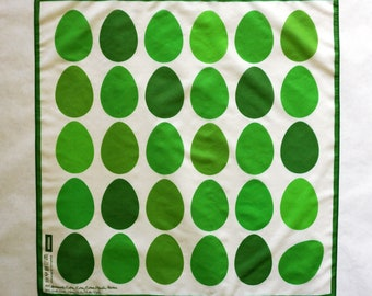 EGGS SCARF GREEN, easter, digital print, silk, cotton