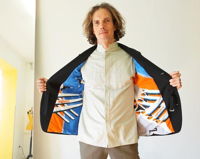 PIONEER Slim Fit Coat with printed lining, Sport Coats, Jacket, Wool, digital print