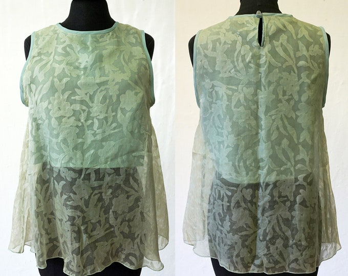 TOP SILK, layered top, flower, with pocket, lace, wedding, translucent, transparent