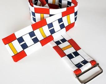 """FABRIC BELT """"BAUHAUS"""" De Stijl, Constructivism, Concrete Art, primary colors, Cotton, 1920 - 1940, Digital Print"""