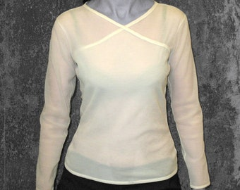 SALE! JACQUARD T-SHIRT Jersey, creme, beige, flower, lingerie, long sleeves, wrapped top