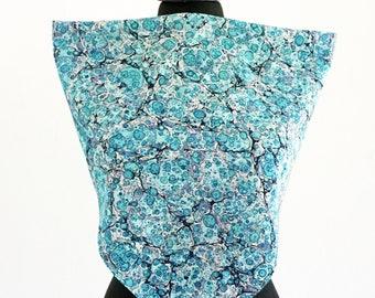 ART DECO SCARF Silk, Cotton, Art Nouveau, turquoise,  marbling