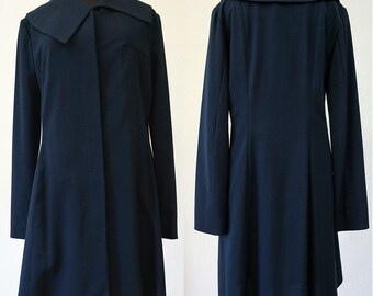 SALE! COAT Asymmetry, wool, pockets, silver, dark blue, long