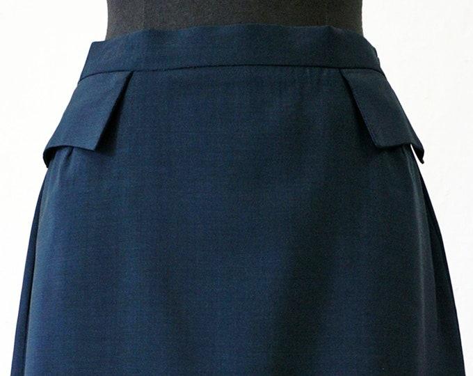 SKIRT POCKETS wool, blue, round seam, silver grey
