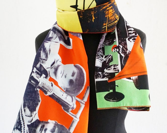 "SCARF ""PIONEER""  Silk, Cotton, Communism, Scarves, Shawls, Wraps, digital print, Soviet Union, workers posters, propaganda, 1920s to 1940s"
