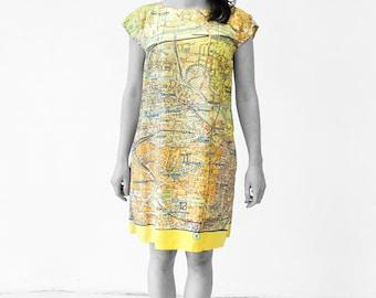 BERLIN DRESS Tunic A-line GDR map from 1960s sleeveless