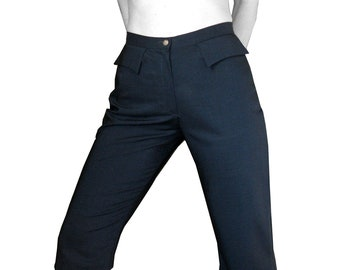 CAPRI PANTS FLAPPOCKETS wool, blue, cropped Pants