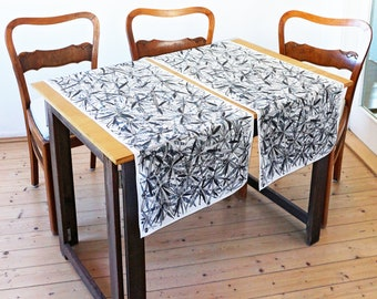 "table runner ""braid"" hand drawing, artfully designed fabric, floral, organic cotton"