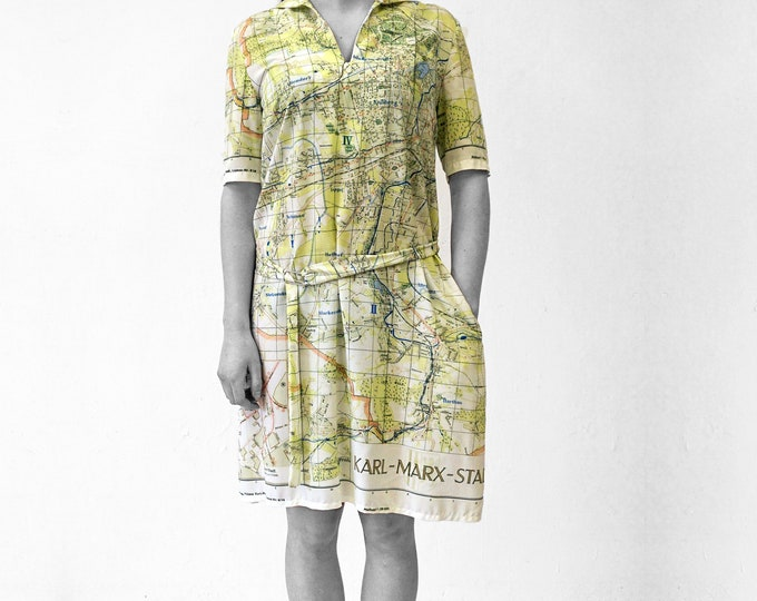 KARL MARX CITY Dress with Belt, sailor collar, G.D.R. map 1960s